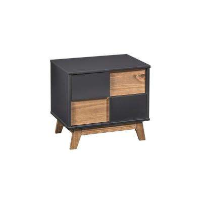 Livonia 2-Drawer Dark Grey and Natural Wood Nightstand