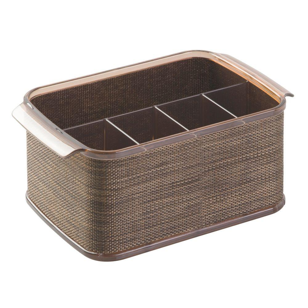 Interdesign twillo 5 compartment cutlery caddy in bronze for Inter designs