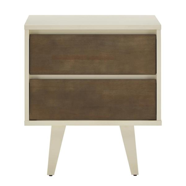 Butter White And Light Charcoal Finish 2-Drawer Nightstand