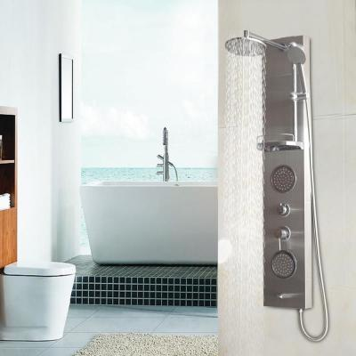 55 in. 5-jet Shower System with Hand-shower and Thermostatic Valve in Aluminium