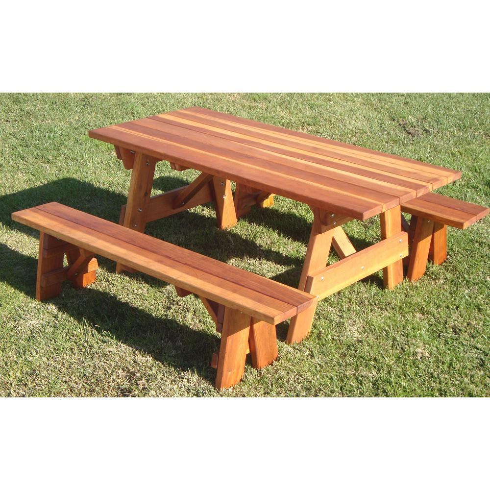 Amazing 1905 Super Deck Finished 5 Ft Redwood Outdoor Picnic Table With Separate Benches Forskolin Free Trial Chair Design Images Forskolin Free Trialorg