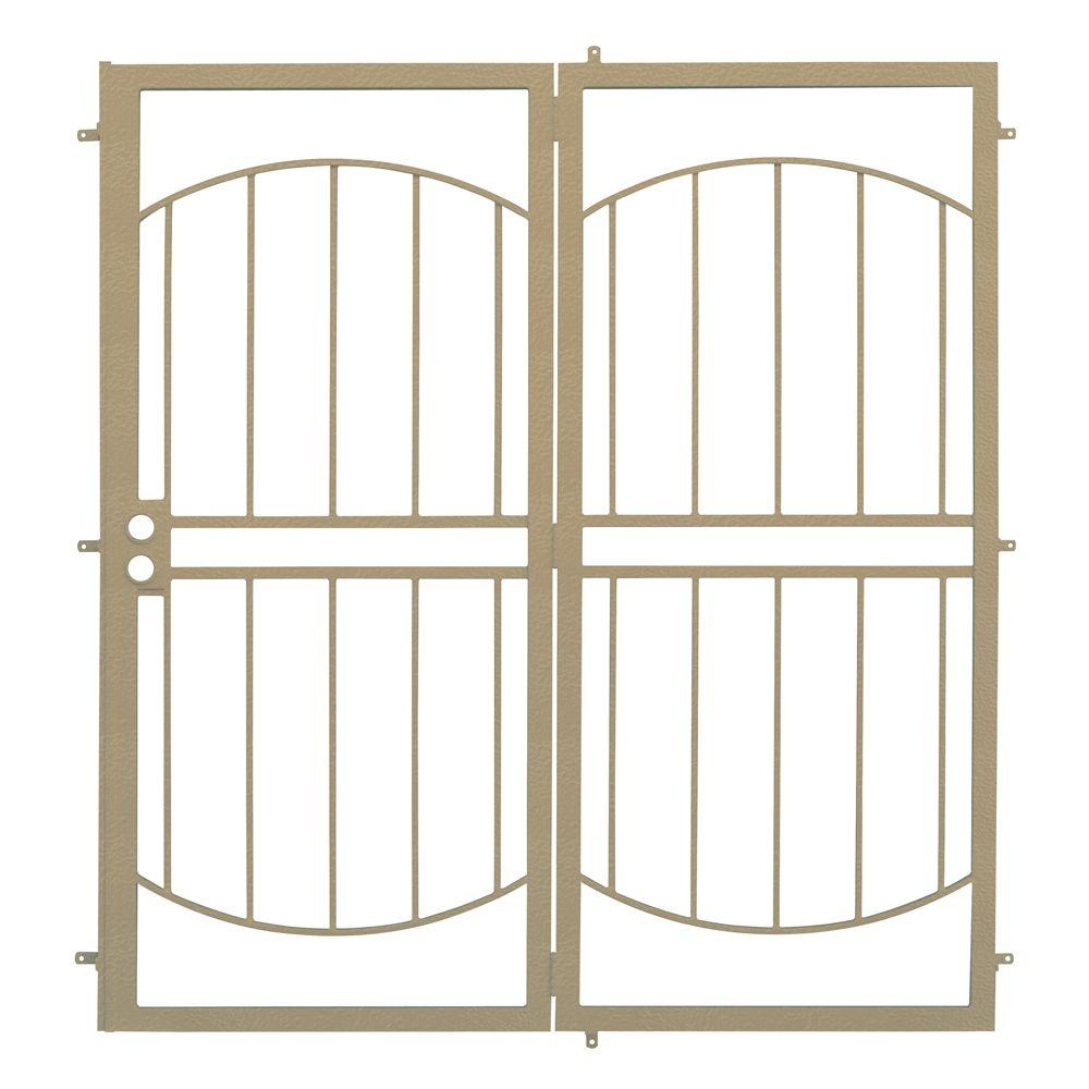Unique Home Designs 72 in. x 80 in. Arcada Tan Projection Mount Outswing Steel Patio Security Door with No Screen