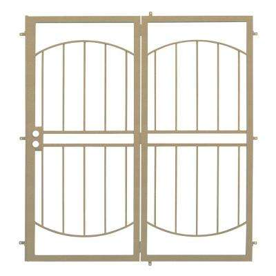 72 in. x 80 in. Arcada Tan Projection Mount Outswing Steel Patio Security Door with No Screen
