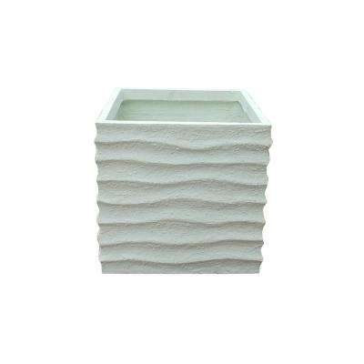 Large 17.7 in. x 17.7 in. x 17.7 in. White Lightweight Concrete Square Wave Textured Off Planter