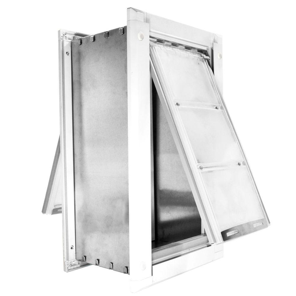 Endura Flap 18 in. x 10 in. Large for Walls Endura Flap Pet Door with White Aluminum Frame