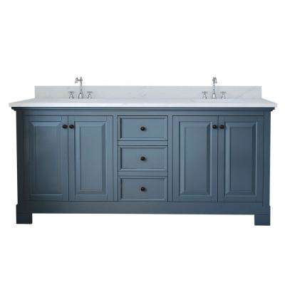 Richmond 72 in. W x 22 in. D Double Vanity in Gray with Marble Vanity Top in White with White Basin