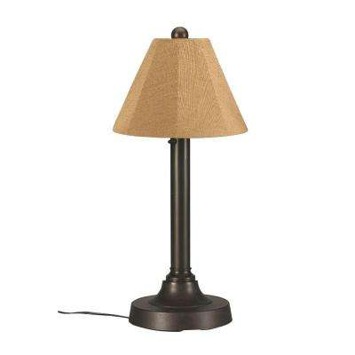 San Juan 30 in. Bronze OutdoorTable Lamp with Straw Linen Shade