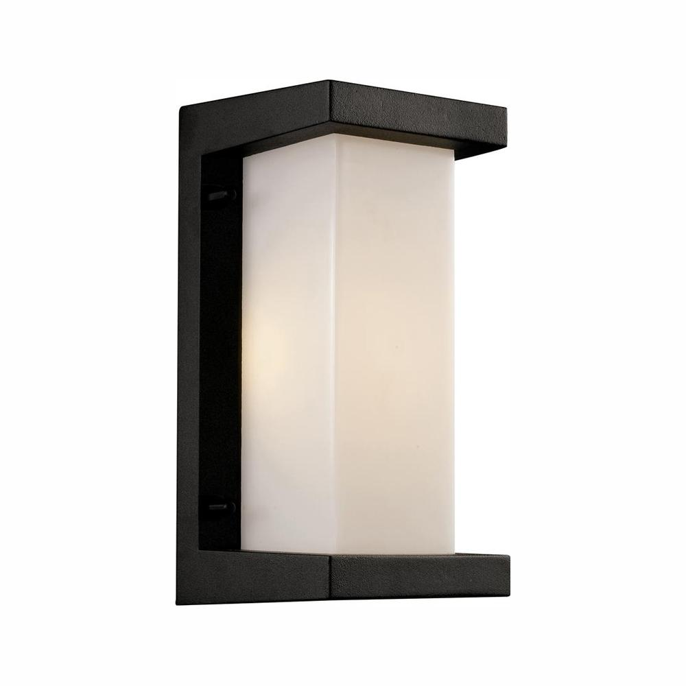 Capitol 1 Light Black Outdoor Integrated Led Wall Mount Lantern 40530 Bk The Home Depot