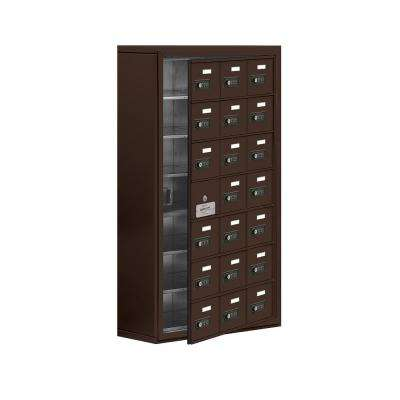 19100 Series 24 in. W x 42 in. H x 9.25 in. D 20 Doors Cell Phone Locker Surface Mount Resettable Lock in Bronze