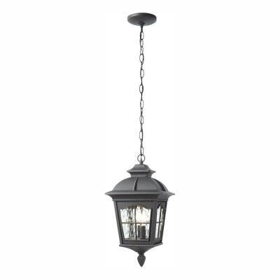 Square Black 2-Light Hanging Lantern with Clear Water Glass