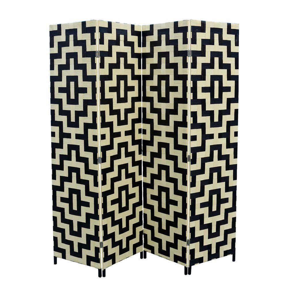 5.9 ft. Black and Natural 4-Panel Room Divider