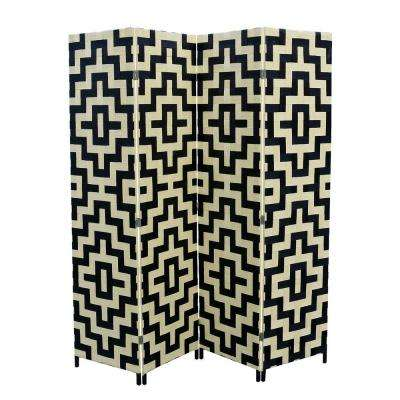 5.9 ft. Black and Natural 4-Panel Room Divider