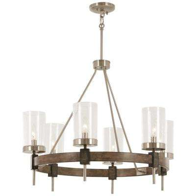 Bridlewood 6-Light Stone Grey with Brushed Nickel Chandelier with Clear Seedy Glass Shade
