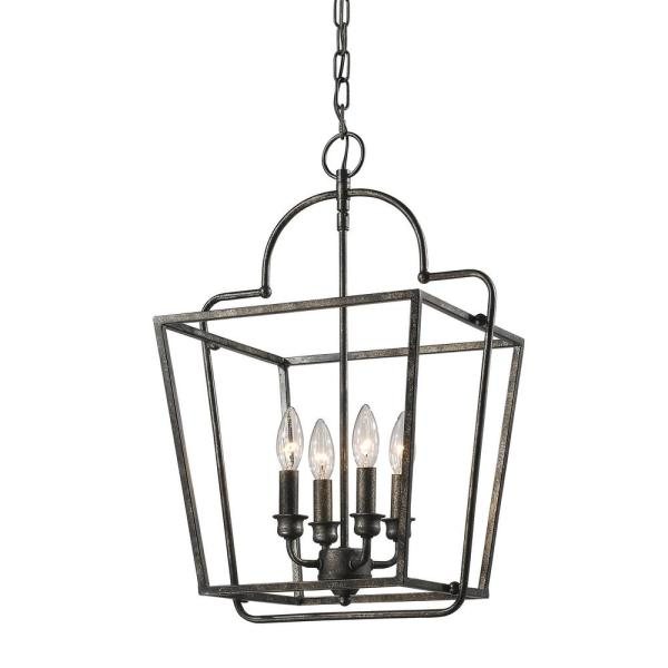 15 in. 4-Light Antique Silver Cage Pendant