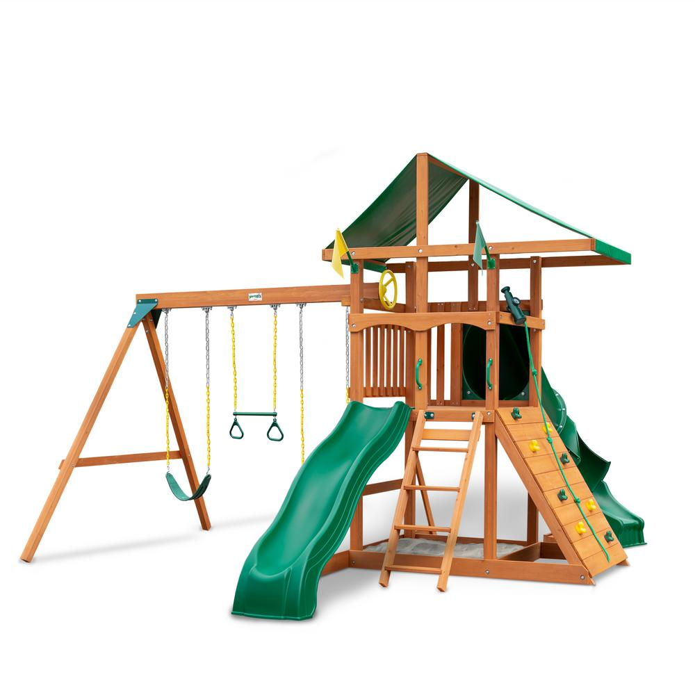 Gorilla Playsets Outing III Wooden Playset with Tube Slide, Wave Slide and Rock Wall