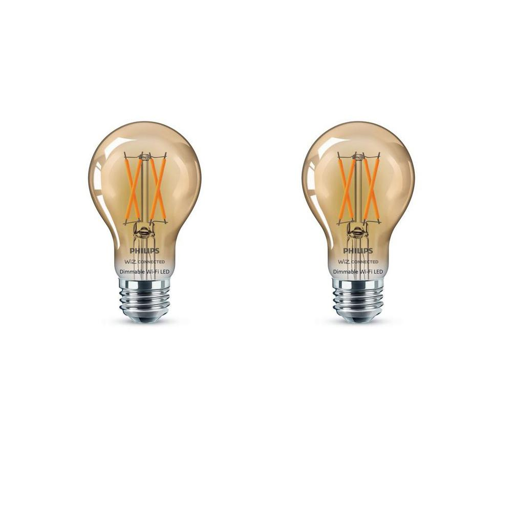 Philips Amber A19 LED 40-Watt Equivalent Dimmable Smart Wi-Fi Wiz Connected Wireless Light Bulb (2-Pack)