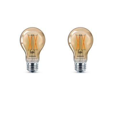 Amber A19 LED 40-Watt Equivalent Dimmable Smart Wi-Fi Wiz Connected Wireless Light Bulb (2-Pack)