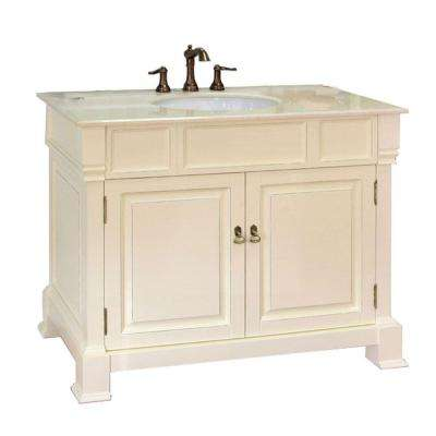 Olivia 42 in. W x 35-1/2 in. H Single Vanity in Cream White with Marble Vanity Top in Cream