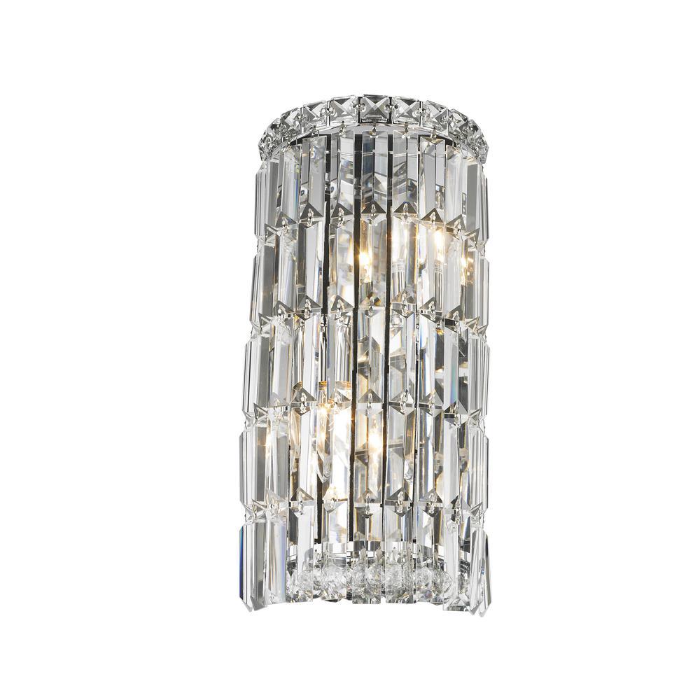 Worldwide Lighting Cascade 2 Light Chrome Clear Crystal Sconce