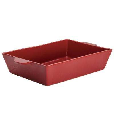 Home Collection 9 in. x 13 in. Sienna Red Ceramic Rectangular Baker
