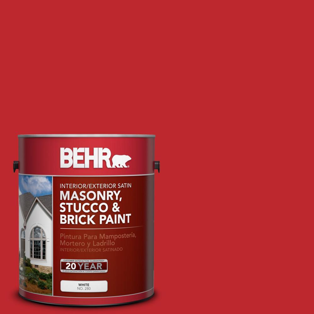 1 gal. #P150-7 Flirt Alert Satin Interior/Exterior Masonry, Stucco and Brick Paint