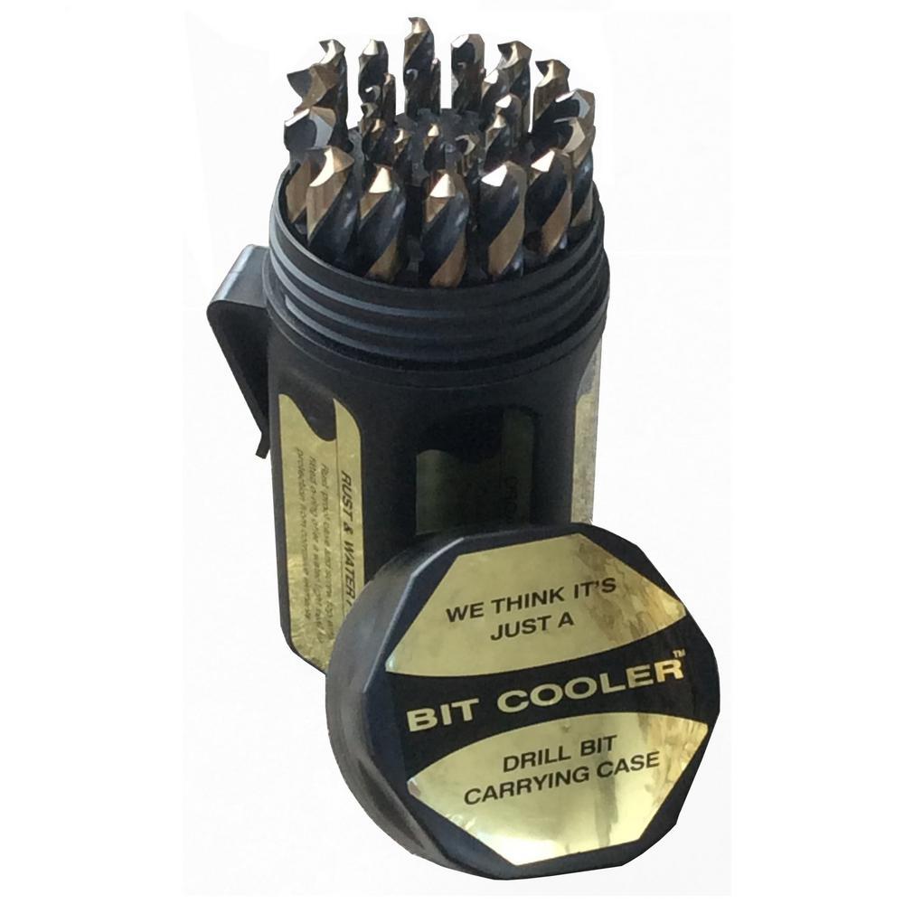 29 Piece Cobalt Drill Bit Set in Round Plastic Case, Sizes 1/16u0022 - 1/2u0022 x 64ths