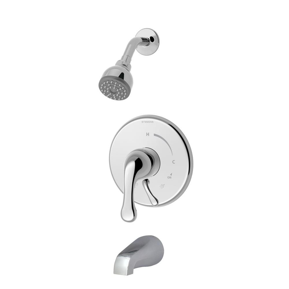 Symmons Unity Single-Handle 1-Spray Tub and Shower Faucet with Stops in Chrome (Valve Included)