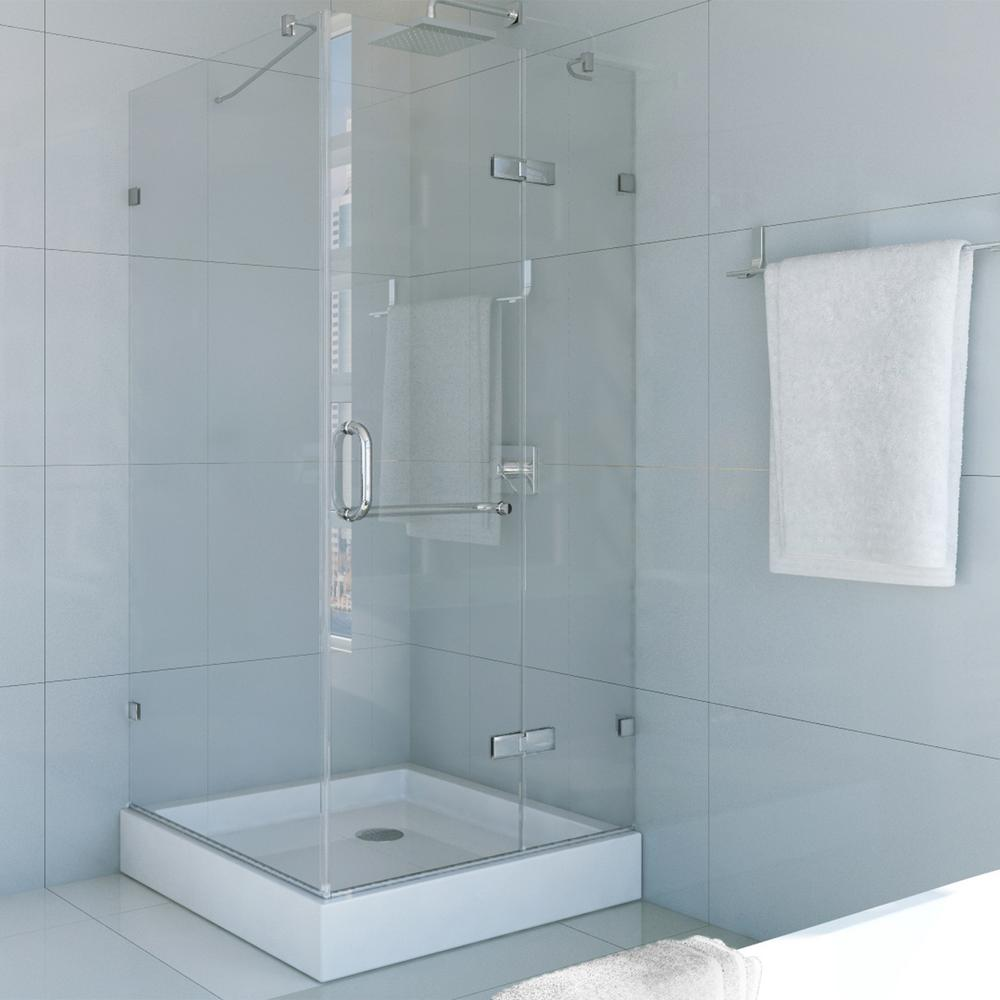 Frameless Pivot Shower Enclosure In Chrome With Clear Glass