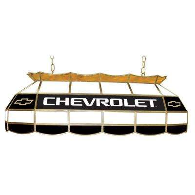 Chevrolet 3-Light Stained Glass Hanging Tiffany Lamp