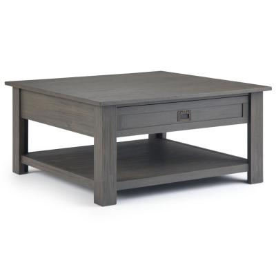 Sullivan Solid Acacia Wood 38 inch Wide Square Rustic Contemporary Coffee Table in Farmhouse Grey