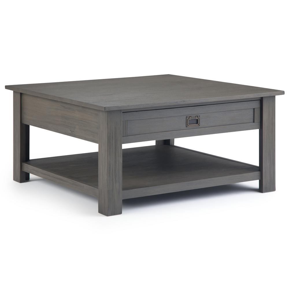 Simpli Home Monroe Solid Acacia Wood 38 in. Wide Square Rustic Contemporary Square Coffee Table ...