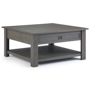 Monroe 38 in. Gray Medium Square Wood Coffee Table with Drawers