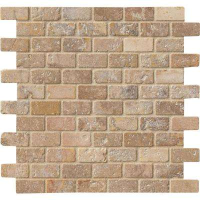 Tuscany Scabas 12 in. x 12 in. x 8mm Tumbled Travertine Mesh-Mounted Mosaic Tile (10 sq. ft. / case)