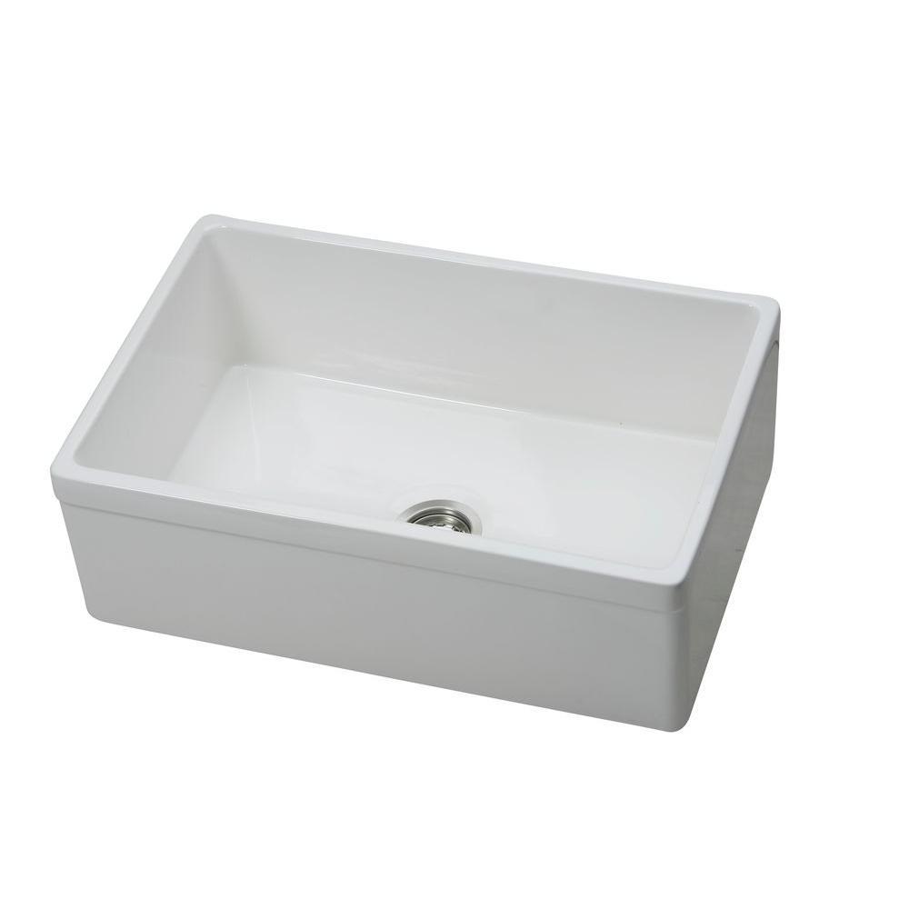 Explore Undermount Fireclay 30 in. Single Bowl Kitchen Sink in Gloss