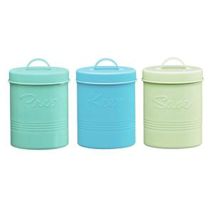 Retro Fifties 3-Piece Metal Storage Canister Set with Assorted Colors