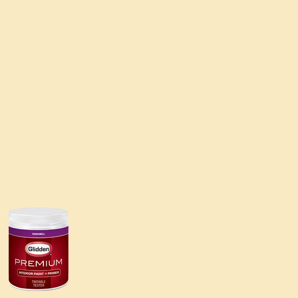Glidden premium 8 oz hdgy03u yellow acacia bloom for Eggshell yellow paint