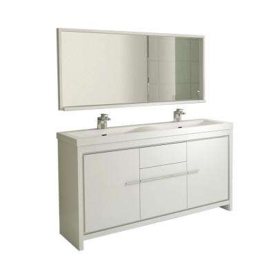Ripley 56.65 in. W x 19.87 in. D x 34.12 in. H Vanity in White with Acrylic Vanity Top in White with White Basin