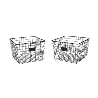 13.75 in. D x 11.25 in. W x 8 in. H Black Medium Steel Wire Storage Bin Basket Organizer (2-Pack)
