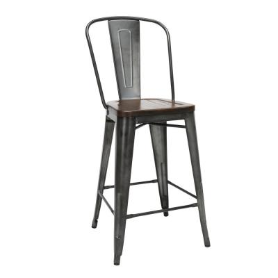 """161 Collection Industrial Modern 4 Pack 26"""" High Back Metal Bar Stools with Solid Ash Wood Seats, in Gunmetal/Walnut"""