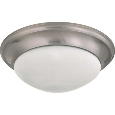 Elektra 3-Light Brushed Nickel Flush Mount with Frosted White Glass
