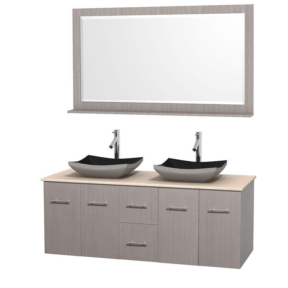 Wyndham Collection Centra 60 in. Double Vanity in Gray Oak with Marble Vanity Top in Ivory, Black Granite Sinks and 58 in. Mirror