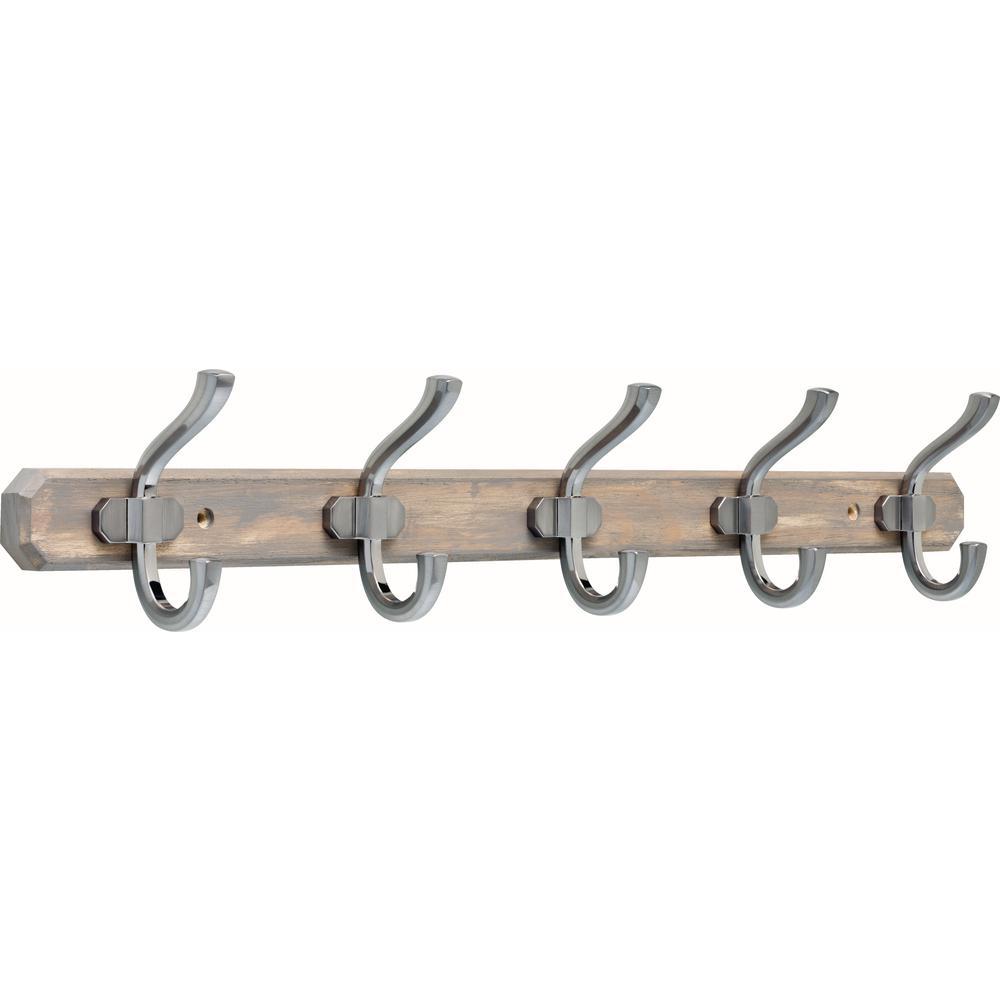 24 in. Graywash and Satin Nickel Hook Rack