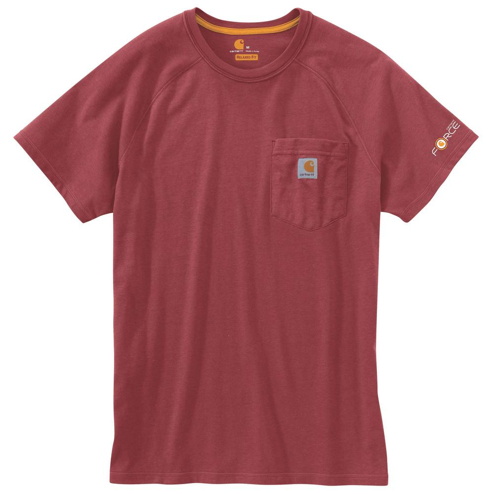 Carhartt Men's Medium Dark Barn Red Heather Polyester/Cotton Force Cotton Delmont Short Sleeve T-Shirt Relaxed Fit