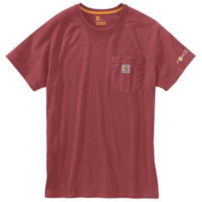 Men's Large Dark Barn Red Heather Polyester/Cotton Force Cotton Delmont Short Sleeve T-Shirt Relaxed Fit