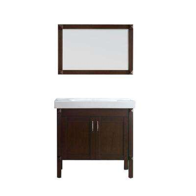 Ottis 36 in. Vanity in Tobacco with Porcelain Vanity Top in White