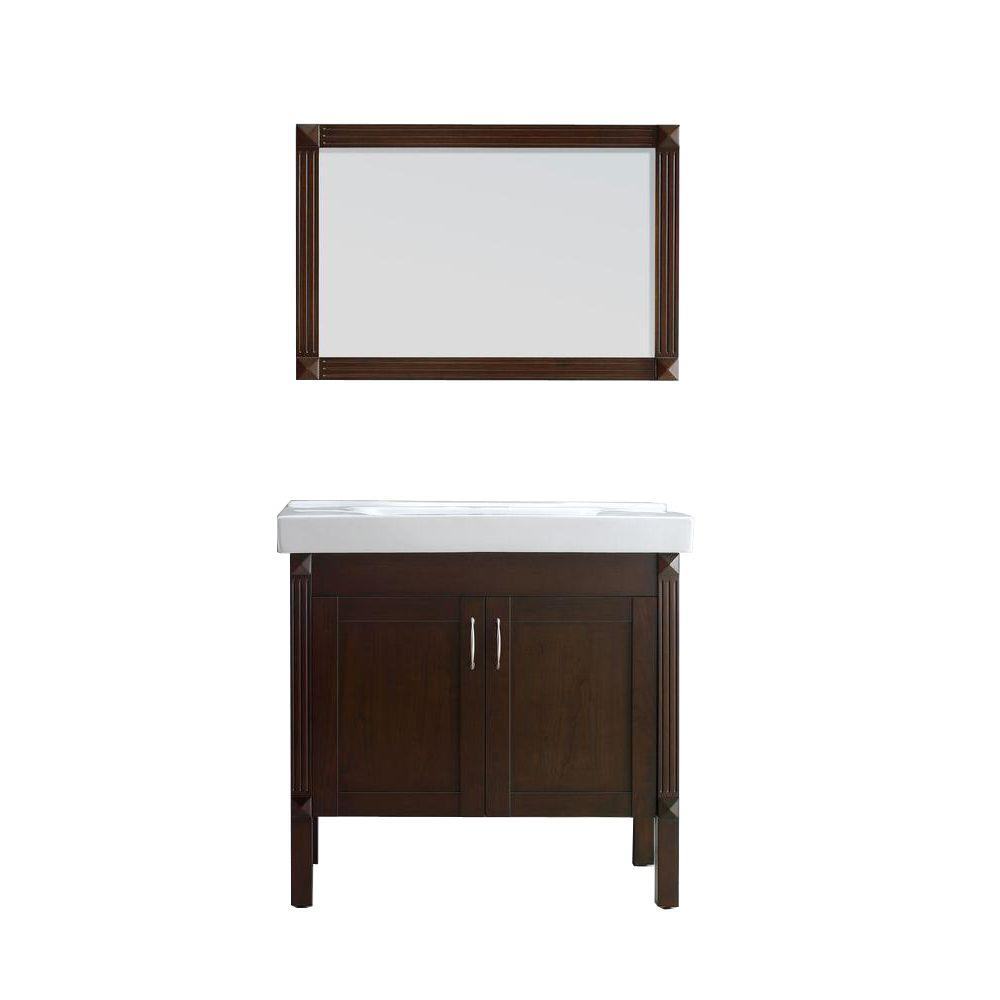 Vanity In Tobacco With Porcelain Vanity Top In White