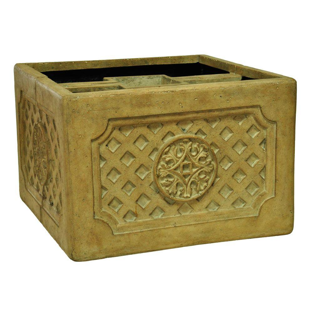 18 in. Square Aged Ivory Cast Stone Mailbox Planter