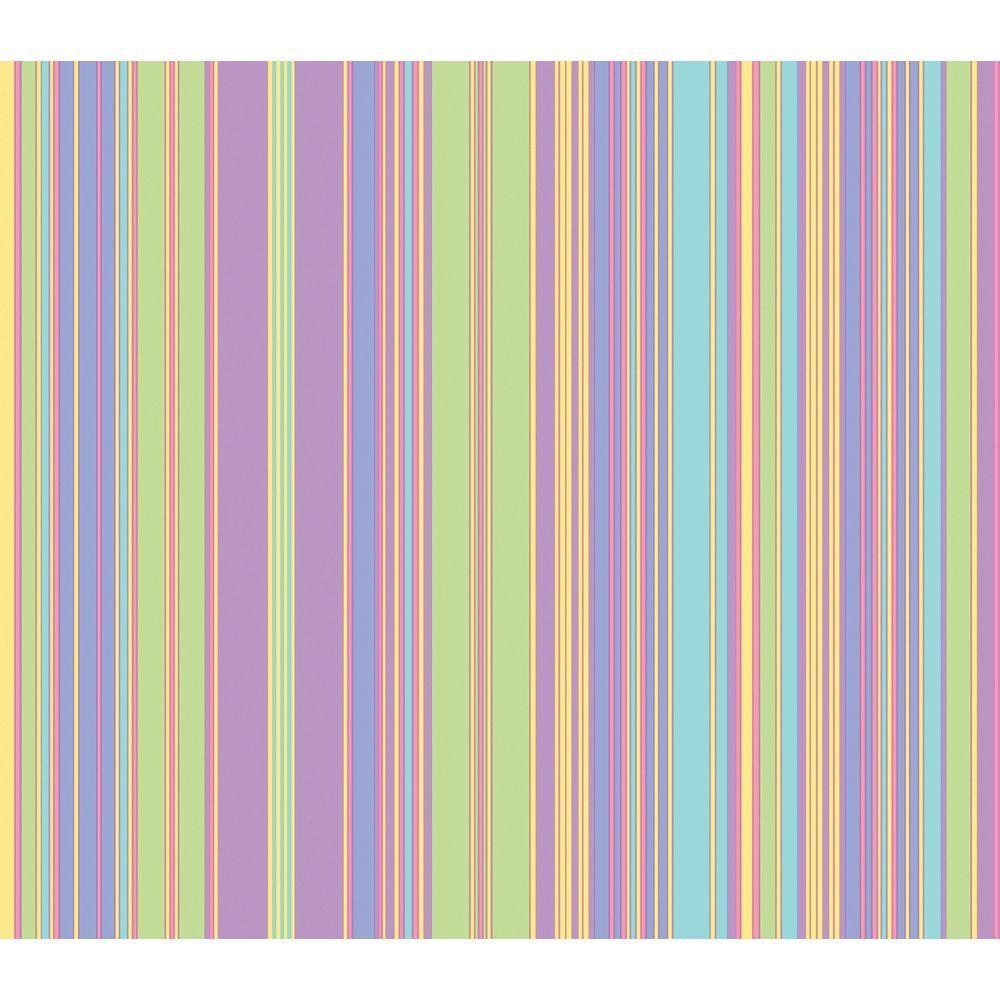 The Wallpaper Company 56 sq. ft. Pastel Barcode Stripe Wallpaper