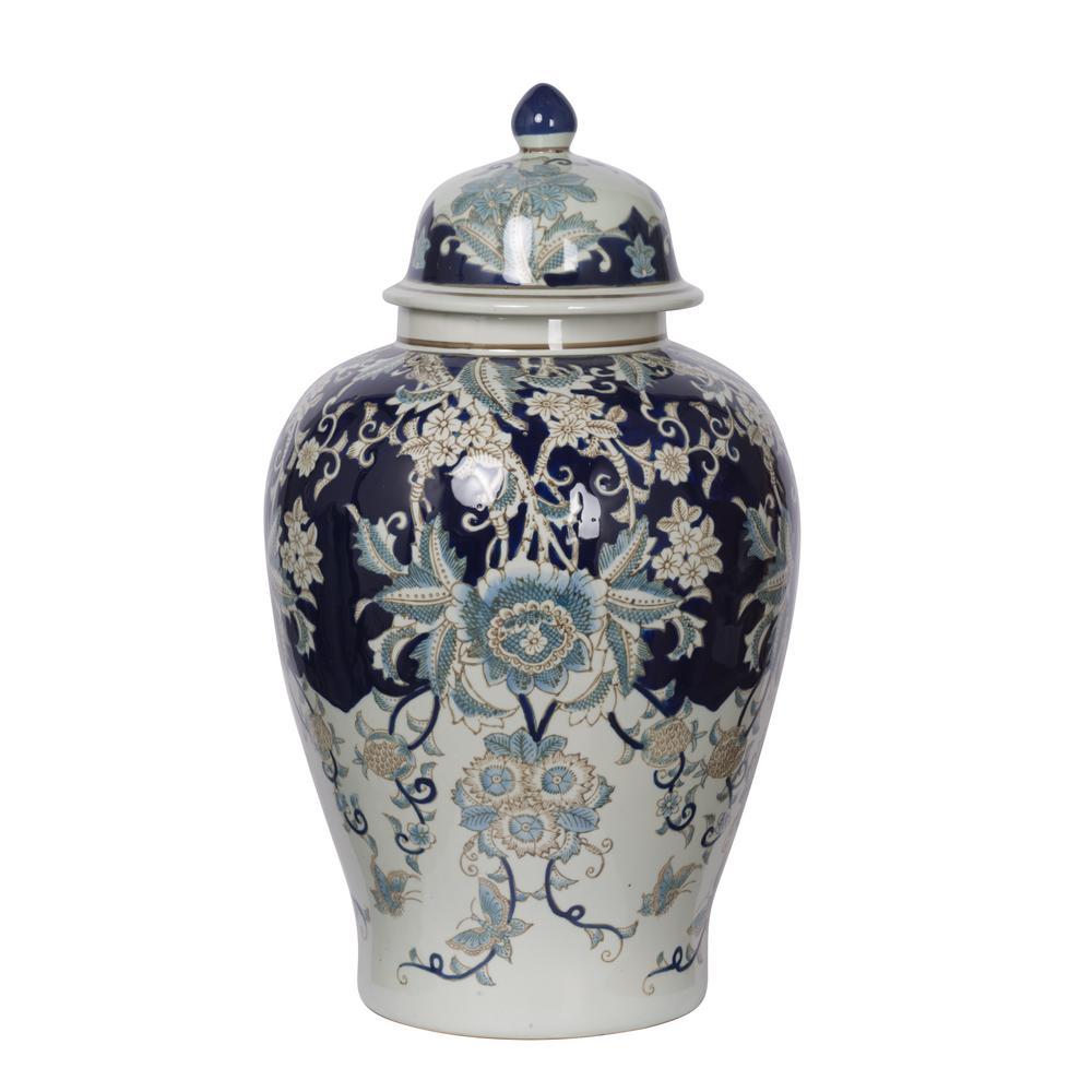 Bryn Blue, Gold, White Large Ginger Jar