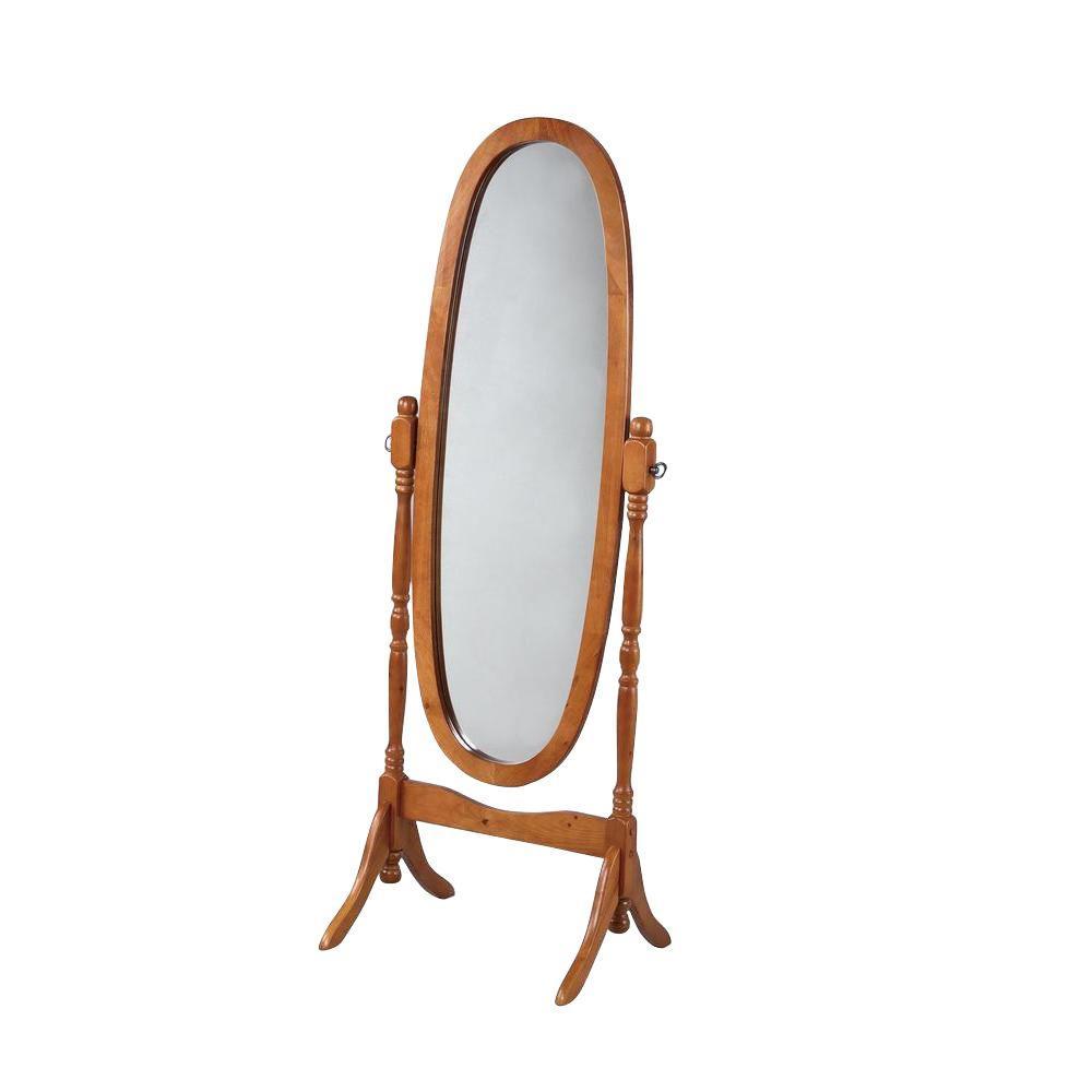 59.25 in. x 22.5 in. Oak Wood Framed Cheval Mirror